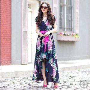 Eliza J Floral Chiffon High/Low Wrap Dress